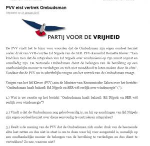 PVV eist vertrek ombudsman